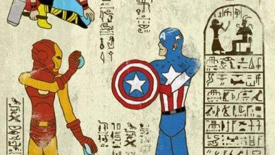 O ilustrador Josh Lane recria os herós dos nossos tempos em hierógliafos do Egito antigo (7)