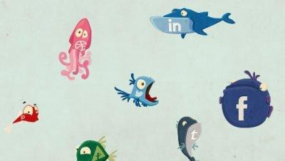 ícones apra as redes socais em formato de peixes, social fish (1)