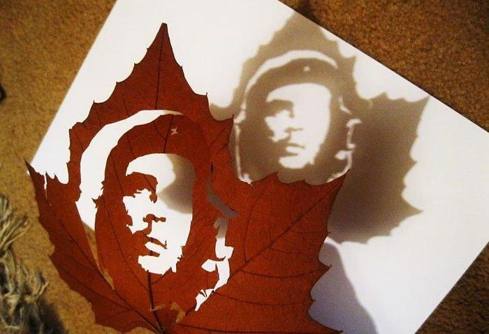 Esculturas com folhas de árvores feitas por Omid Asadi (7)