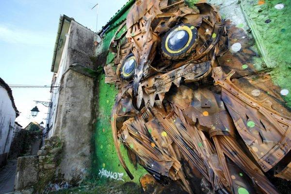 Arte urbana feita com lixo e sucata nas ruas de Portugal (6)