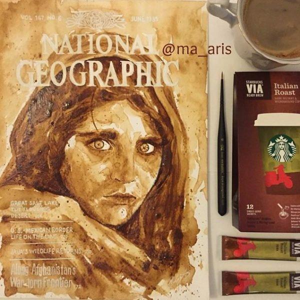 Desenhos criativos feitos de café (9)