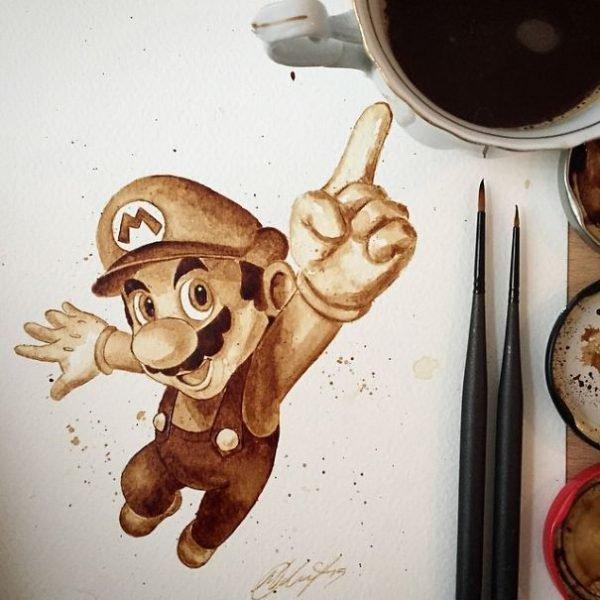 Desenhos criativos feitos de café (15)