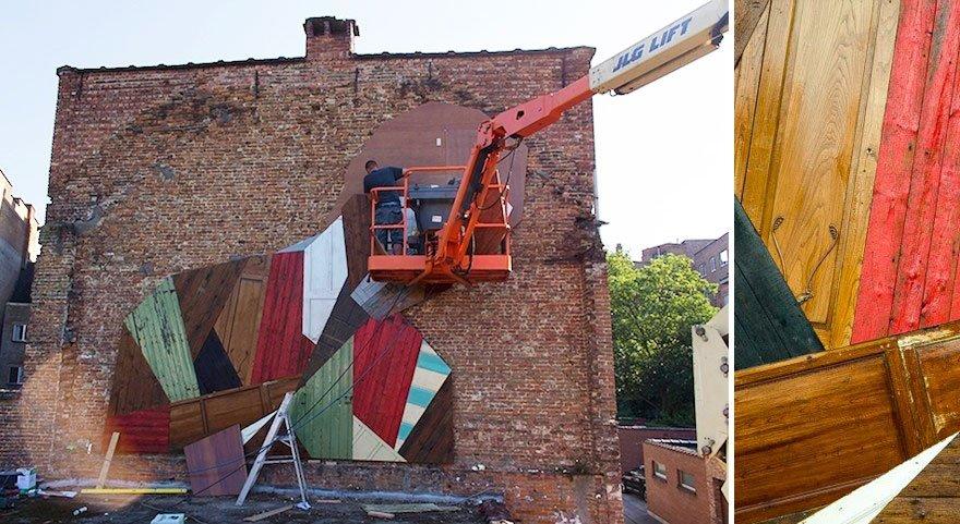 Arte urbana feita com madeira (1)