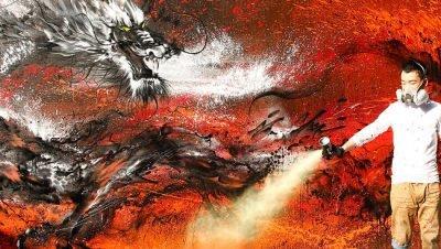 Arte urbana de um grande dragão chinês (1)