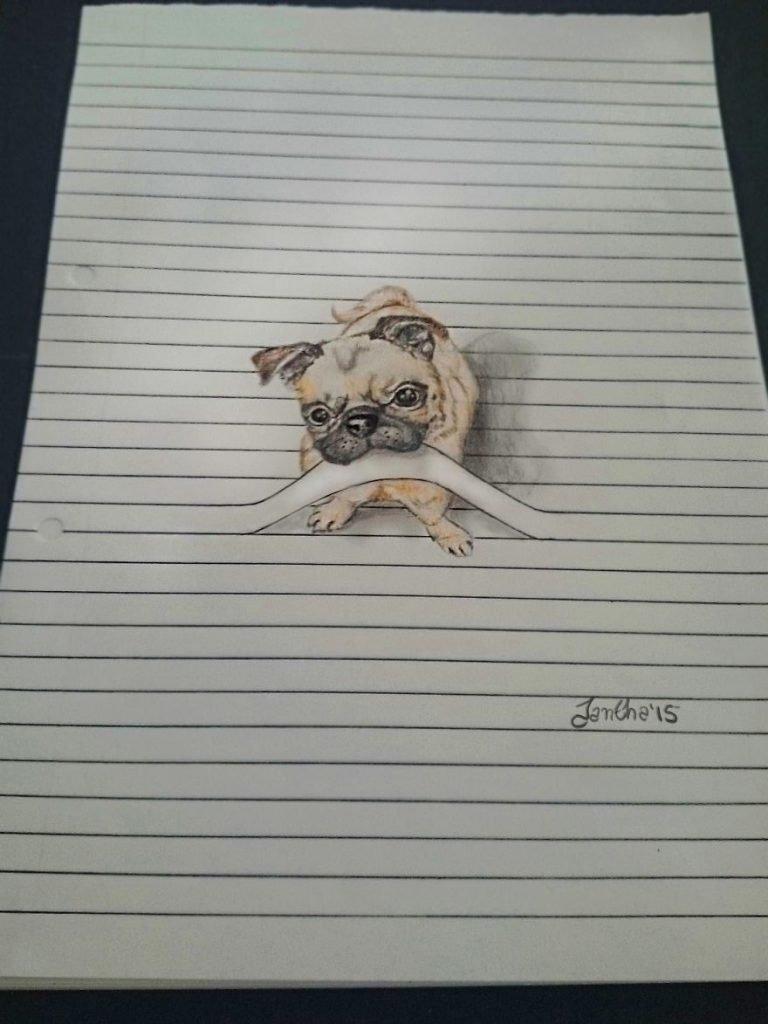 Animais saem da folha de caderno em desenhos 3D (6)