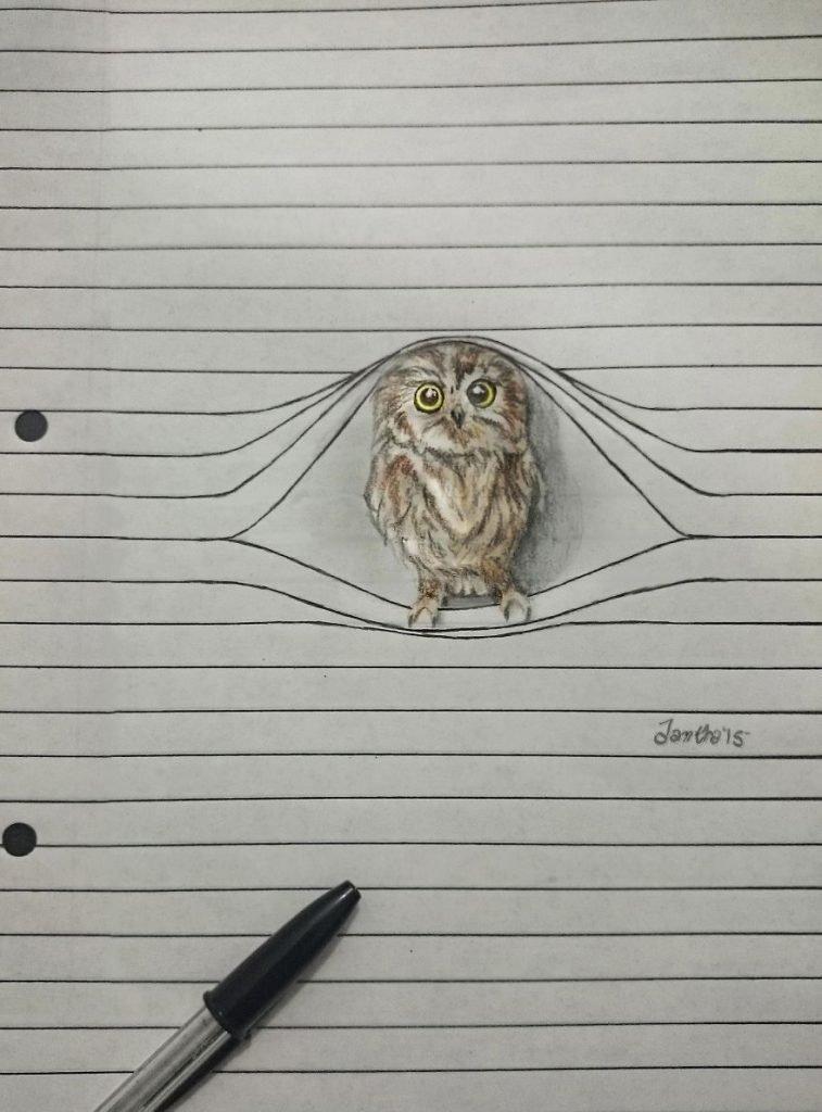 Animais saem da folha de caderno em desenhos 3D (2)