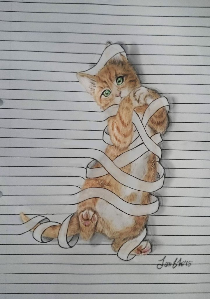 Animais saem da folha de caderno em desenhos 3D (1)