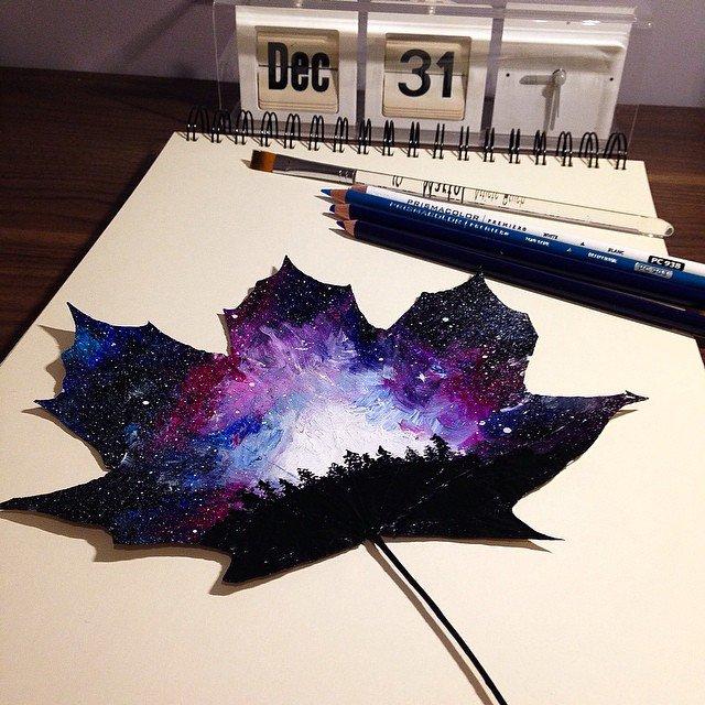 Pinturas e desenhos em folhas de árvores (4)