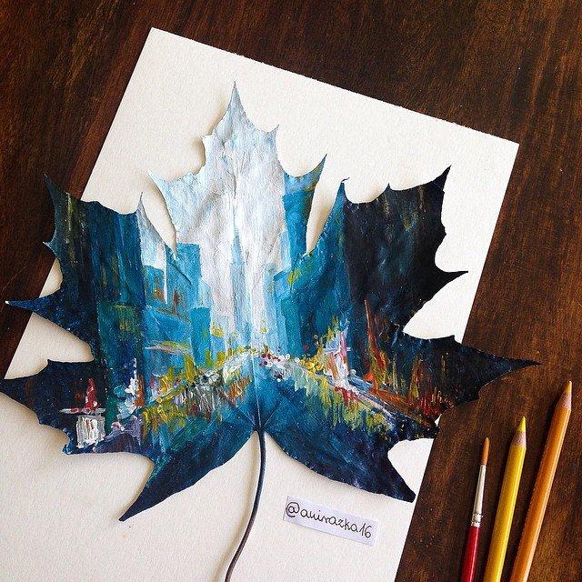 Pinturas e desenhos em folhas de árvores (1)