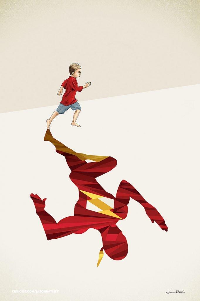 Ilustrações de crianças e seus super herois (2)