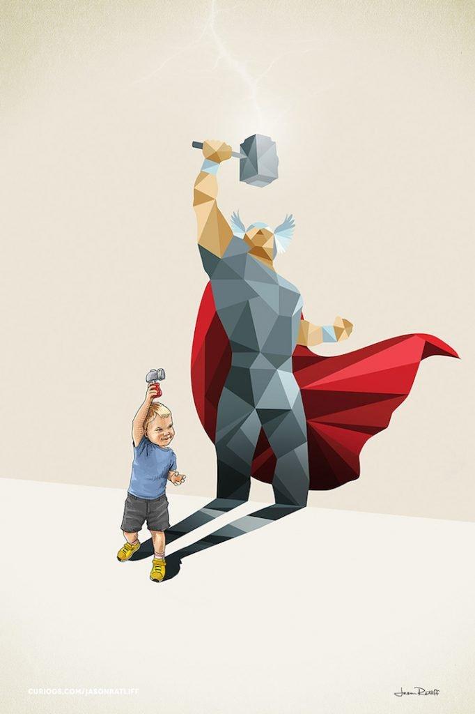 Ilustrações de crianças e seus super herois (1)