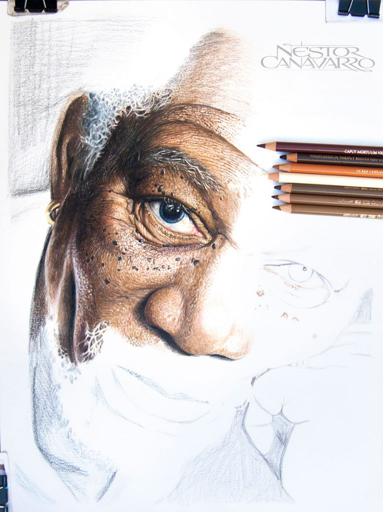 Desenhos realistas de Morgan Freeman por Néstor Canavarro (2)