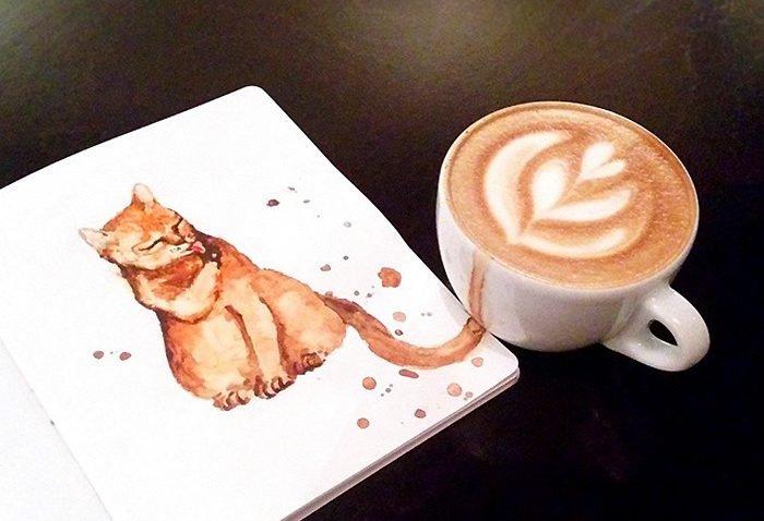 Desenhos criativos de gatos feitos com café (7)