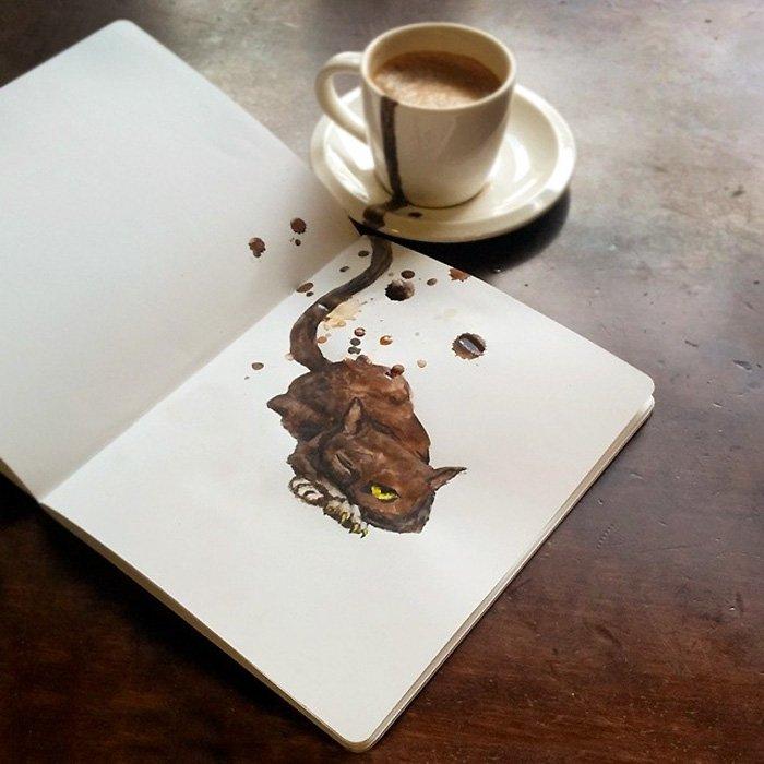 Desenhos criativos de gatos feitos com café (6)
