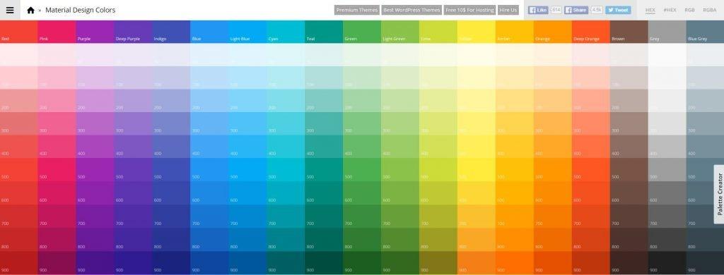 paleta de cores material design