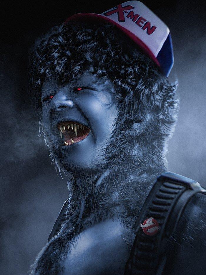 Personagens de Stranger Things inspirado em X-Men