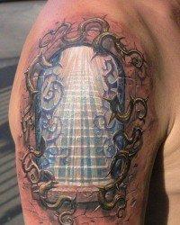Tatoo 3d de um portal no braço
