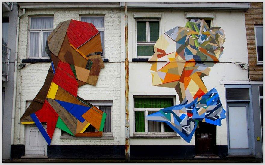 Arte urbana feita com madeira (2)