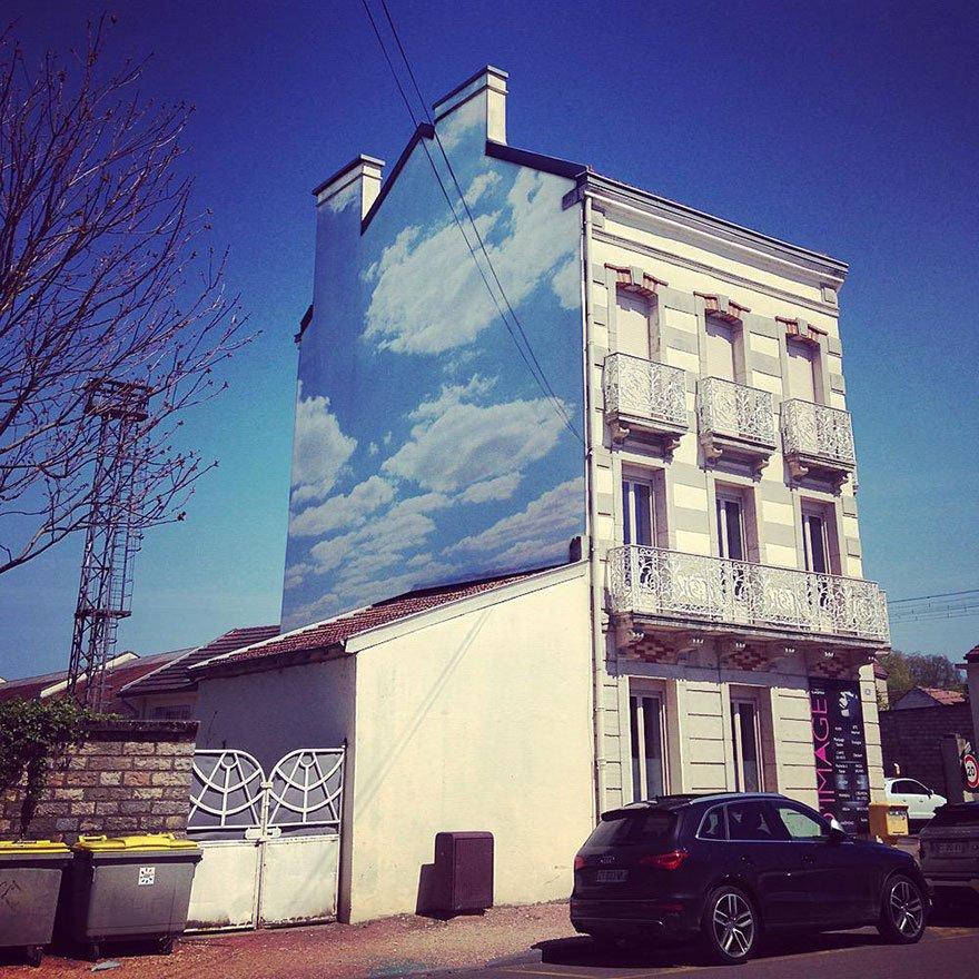 Pinturas lindas no céu em artes urbanas (1)