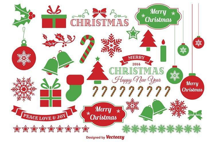 vetores de presentes, arvores e feliz natal