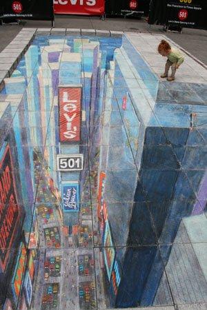 Desenho 3D de Julian Beever, estilo uma cidade com uma criança olhando para a rua.